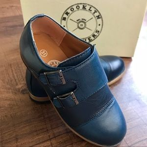 NEW Boy's Navy Leather Double Monk Strap Shoes 13